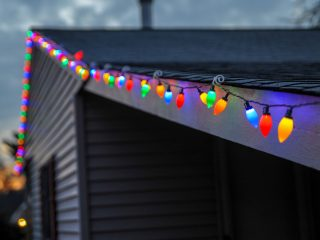 christmas lights strung on roof