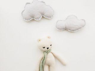 Teddy bear in clouds artwork