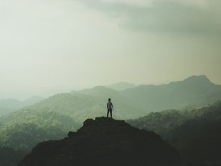 Man standing on mountain