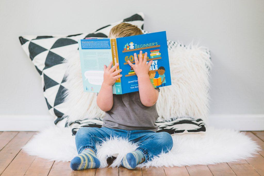 child reading The Beginner's Gospel Story Bible
