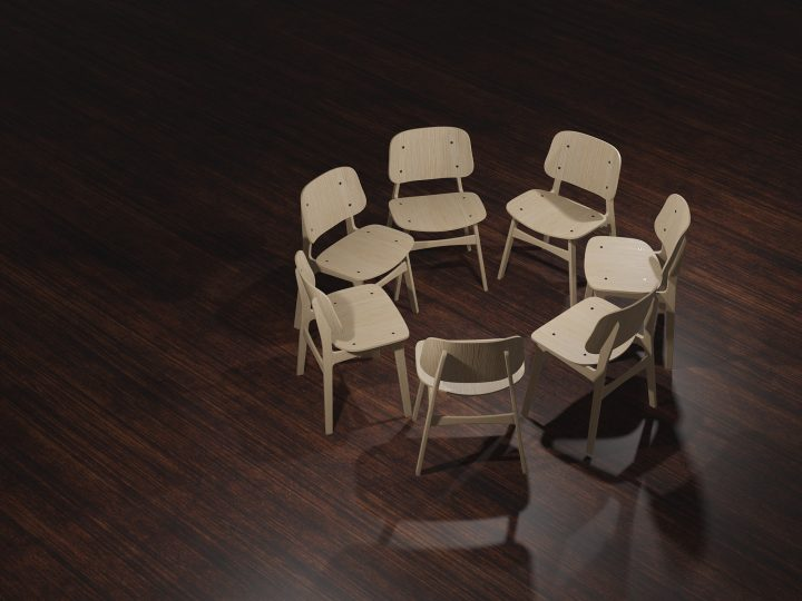 group of empty chairs