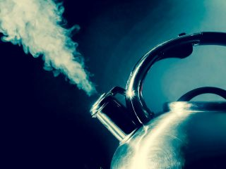 angry kettle with steam